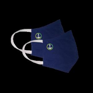 Kit com 2 Máscaras Social Antiviral e Antibacteriano de Proteção Permanente - Cor Azul Marinho - Com logo marca nova da Coroa Naval da Marinha