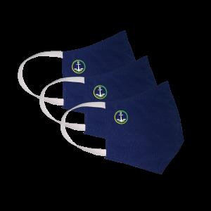 Kit com 3 Máscaras Social Antiviral e Antibacteriano de Proteção Permanente - Cor Azul Marinho - Com logo marca nova da Coroa Naval da Marinha