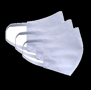 Kit com 3 Máscaras Social Antiviral e Antibacteriano de Proteção Permanente - Cor Branca